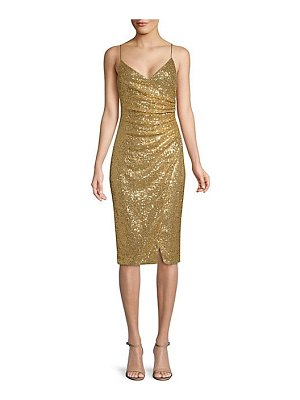 Black Halo bowery ruched sequined slip dress