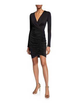 Black Halo Como Long-Sleeve Shirred Cocktail Dress