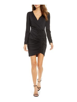 Black Halo como ruched long sleeve minidress