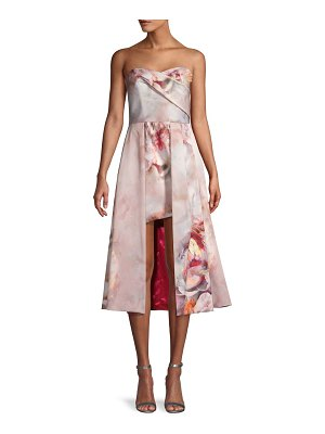 Black Halo Eve Caine Floral High-Low Cocktail Dress
