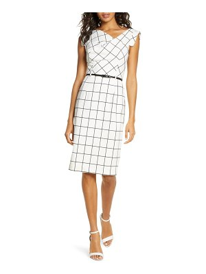 Black Halo jackie o grid print sheath dress