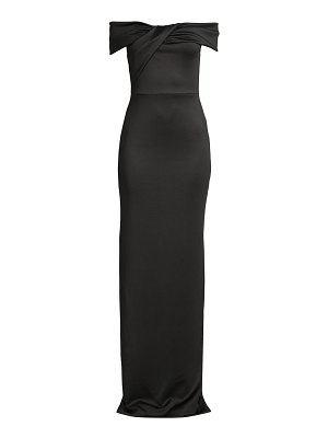 Black Halo lilliana draped off-the-shoulder gown