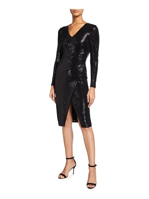 Black Halo Miramar Sequin Faux-Wrap Sheath Dress