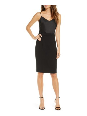 Black Halo teagun mix media sheath dress