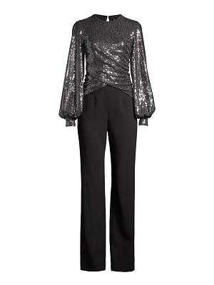 Black Halo uno 2-piece sequin puff-sleeve top & crepe pants jumpsuit