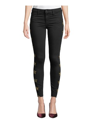 Black Orchid Noah Ankle Fray Skinny Jeans with Metallic Stars