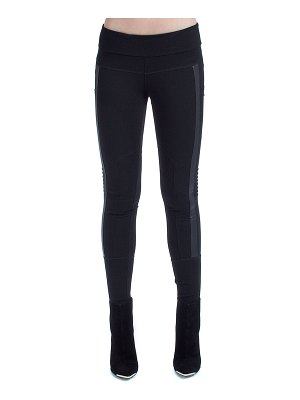 Blanc Noir Paneled Mesh Moto Leggings
