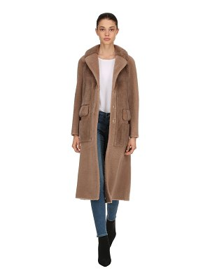 BLANCHA Shearling & mink fur long coat
