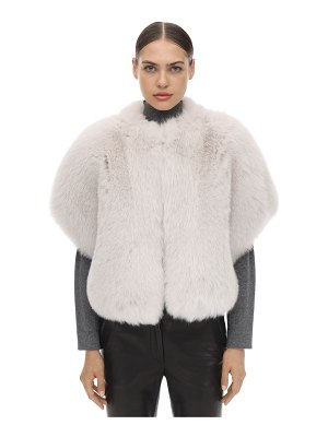 BLANCHA Short sleeves shadow fur jacket