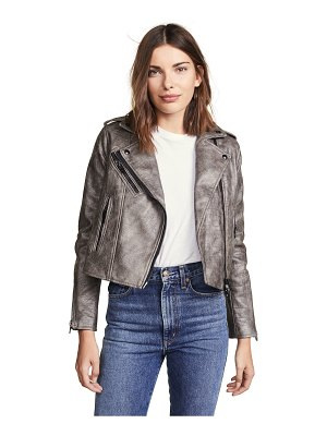 Blank Denim croc embossed vegan leather moto jacket