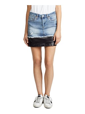 Blank Denim denim & vegan leather miniskirt
