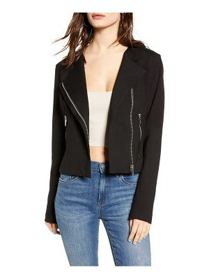 BLANK NYC collarless ponte moto jacket
