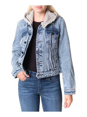 BLANK NYC denim trucker jacket with removable hood
