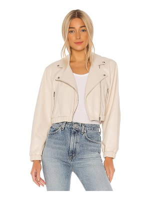 BLANK NYC dropped shoulder cropped vegan leather moto hybrid jacket