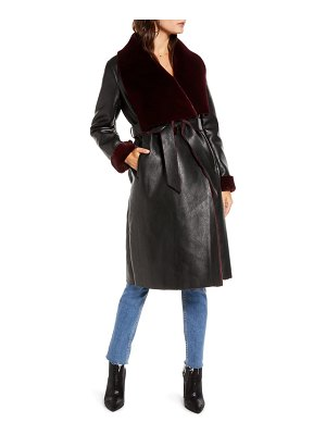 BLANK NYC faux shearling belted coat