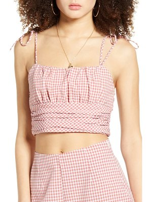 BLANK NYC gingham tie shoulder crop top