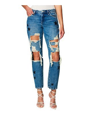 BLANK NYC Good Vibrations Distressed Star Patch Jeans