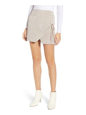 BLANK NYC lace-up suede miniskirt