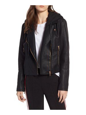 BLANK NYC meant to be moto jacket with removable hood