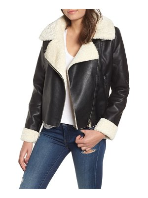 BLANK NYC moto jacket with faux shearling lining