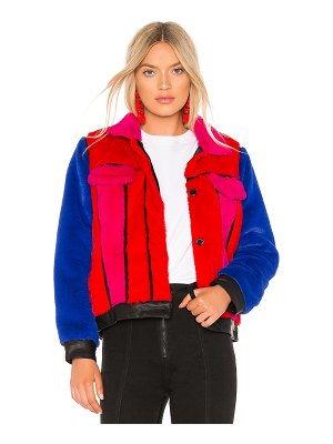 BLANK NYC Multi Color Faux Fur Jacket