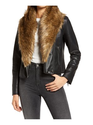 BLANK NYC night fever faux leather moto jacket with faux fur trim
