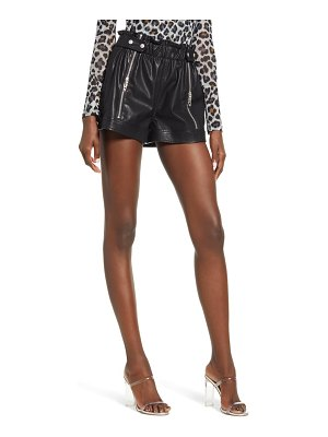 BLANK NYC paperbag waist faux leather shorts