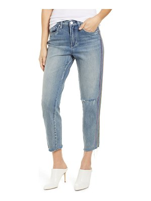 BLANK NYC rainbow side seam ripped straight leg jeans
