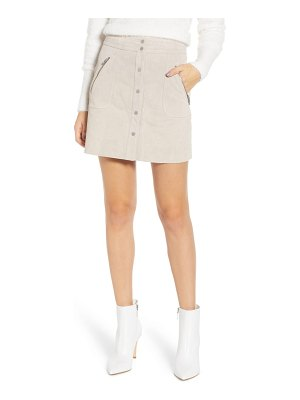 BLANK NYC snap front suede miniskirt