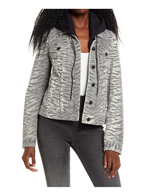 BLANK NYC tiger print denim jacket with removable hood