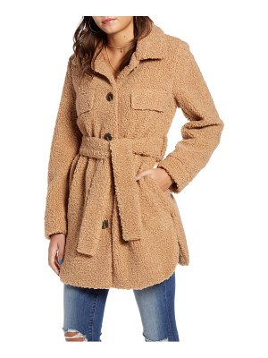 BLANK NYC toffee faux shearling belted coat