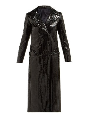 BLAZÉ MILANO black caviar crocodile effect double breasted coat
