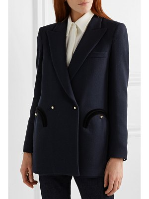 BLAZÉ MILANO everyday double-breasted velvet-trimmed wool-crepe blazer