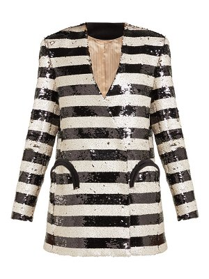 BLAZÉ MILANO kelpie striped sequinned double-breasted blazer