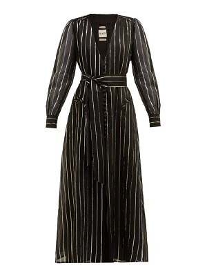 BLAZÉ MILANO medusa metallic stripe jacquard cotton blend gown
