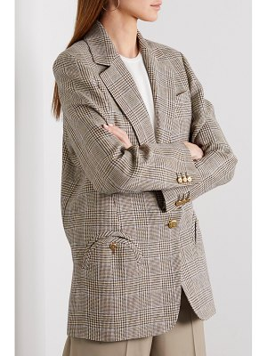 BLAZÉ MILANO merit weekend oversized prince of wales checked linen and wool-blend blazer