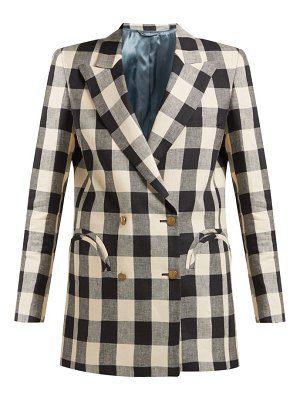 BLAZÉ MILANO pequod double breasted check linen blazer