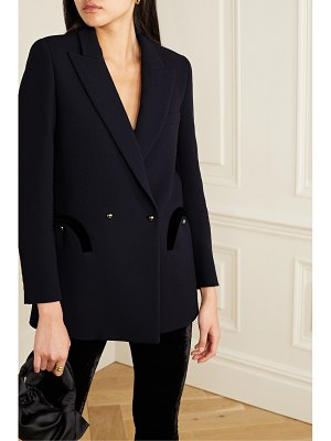 BLAZÉ MILANO resolute everyday double-breasted velvet-trimmed wool-crepe blazer