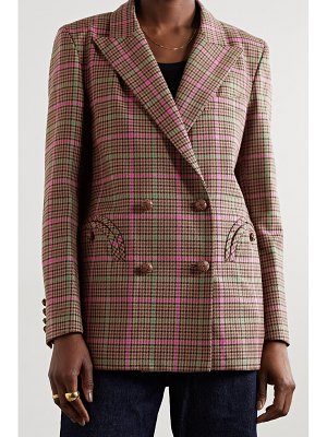 BLAZÉ MILANO sirah everynight double-breasted checked wool and cotton-blend blazer