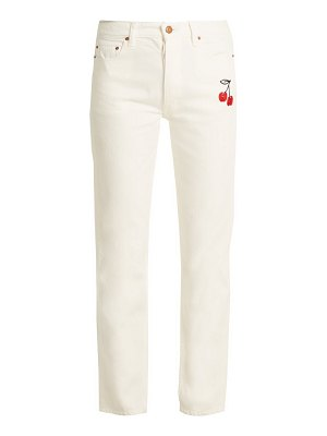 BLISS AND MISCHIEF cherry-embroidered high-rise straight-leg jeans