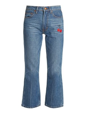 BLISS AND MISCHIEF cherry-embroidered mid-rise flared cropped jeans