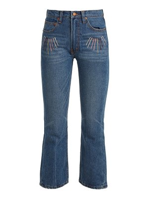 BLISS AND MISCHIEF sunrise-embroidered high-rise cropped jeans