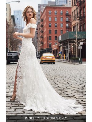 BLISS Monique Lhuillier embroidered off the shoulder trumpet gown