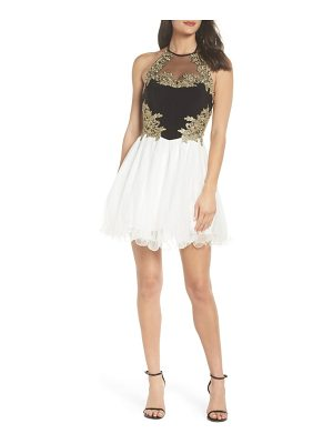 Blondie Nites applique bodice fit & flare halter dress