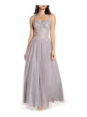 Blondie Nites applique illusion mesh evening dress