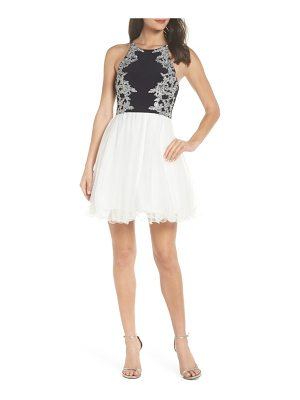 Blondie Nites applique mesh fit & flare dress