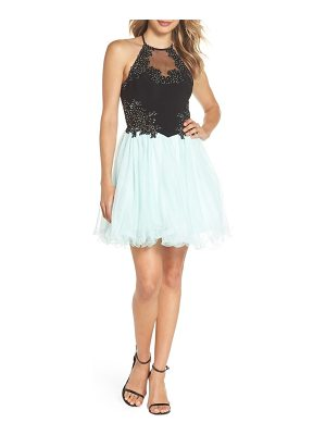 Blondie Nites applique mesh fit & flare halter dress
