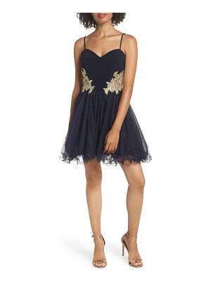 Blondie Nites applique sweetheart fit & flare dress