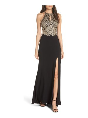 Blondie Nites embellished applique halter gown