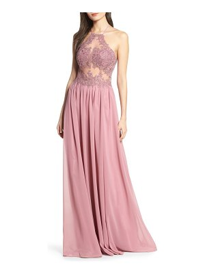 Blondie Nites embroidered illusion halter bodice evening dress
